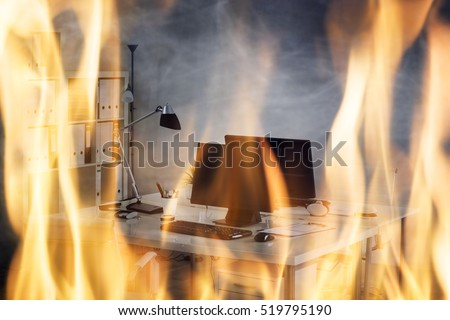 Close-up Of Fire Burning Inside The Office Cabin #519795190