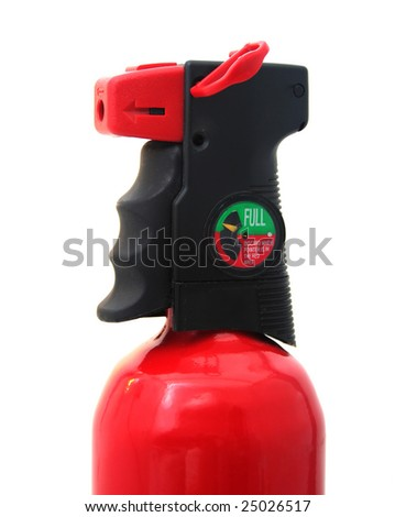 Close Up of Fire Extinguisher Gauge, Grip and Nozzle