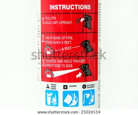 Close Up of Fire Extinguisher Instructions Label