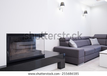 Close-Up Of Fireplace In Contemporary Drawing Room Stock Photo ...