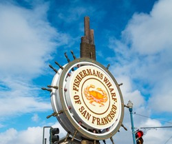 Close up of Fisherman's Wharf sign in San Francisco