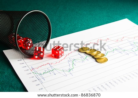 Close up of five dice and coin on  financial chart