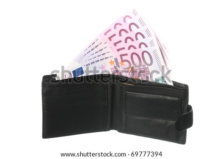 Close-up of five-hundredth euro banknotes in black leather wallet isolated on white