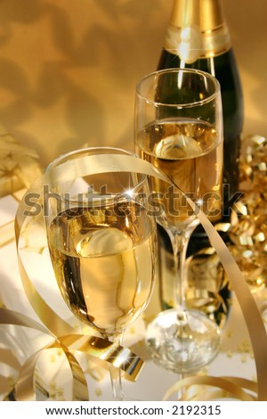 Close-up of fluted champagne glass ready for celebrating