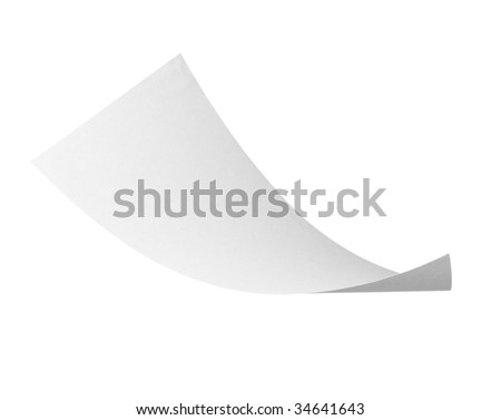 close up of flying  paper on white background with clipping path