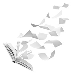 close up of flying papers and an open book on white background