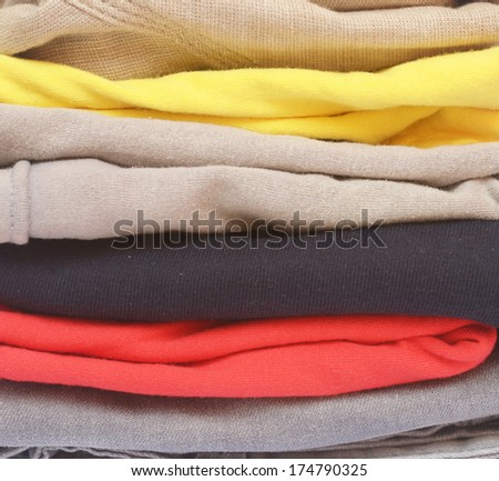 close up of folded color clothes