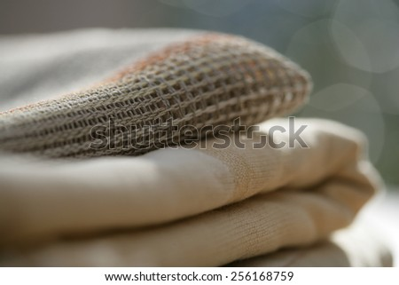 Close up of folded fabrics