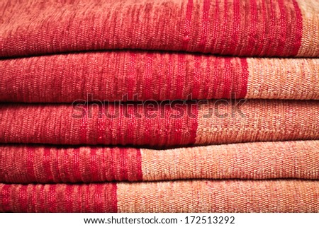 Close up of folded Moroccan fabric as a background