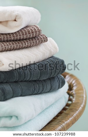 Close up of folded towels