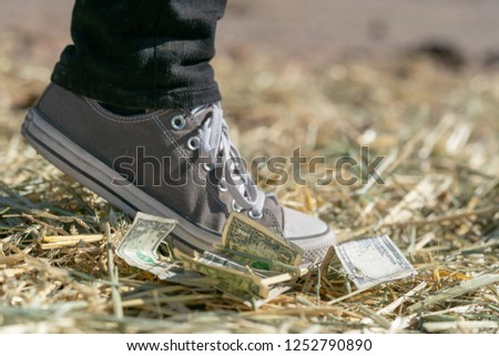 close up of foot stomping on dollar notes on hay