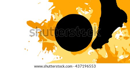 Close up of football player kicking ball against different black silhouette #437196553