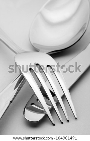 Close-up of fork, spoon and knife