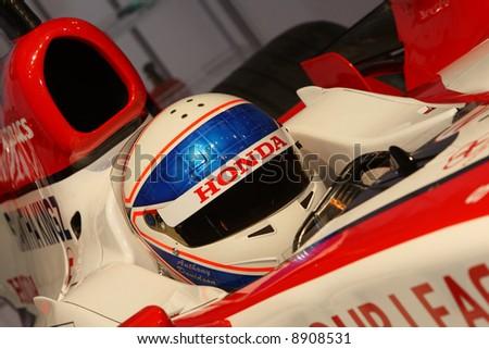 Close up of Formula 1 driver Anthony Davidson in cockpit