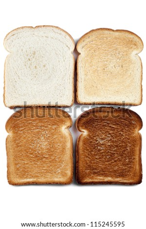 Close up of four color image bread against white background