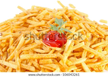 close up of french fries and ketchup