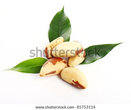 Close up of fresh brazil nuts against white background