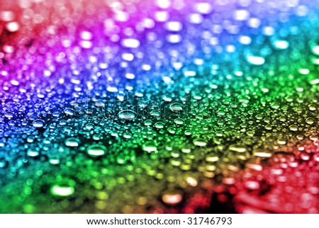 Close up of fresh clean water drops on rainbow background