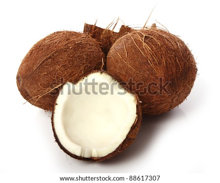 Close up of Fresh coconuts on white background - stock photo