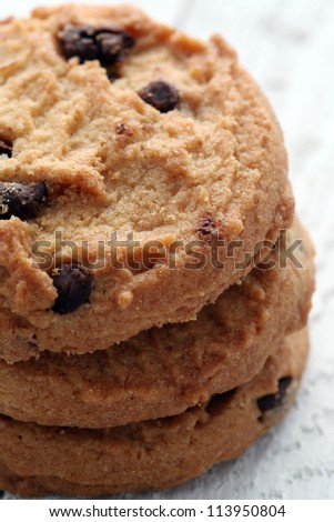 Close up of fresh cookies with chocolate pieces