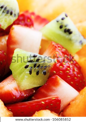 Close-up of Fresh Fruit Salad - Shallow DOF - Focus on front Kiwi