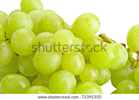Close-up of fresh grape on the white