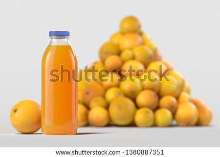Close up of fresh orange juice in bottle on light background. 3d rendering. Imagine de stoc ©