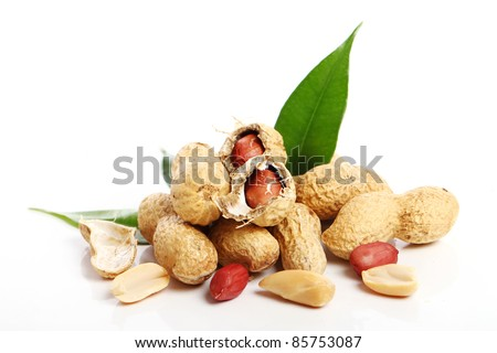 Close up of fresh peanuts against white background