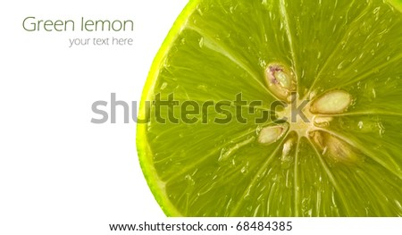 Close up of fresh ripe lemon on white background.