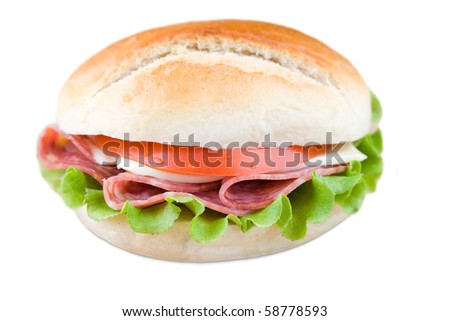 CLose up of fresh sandwich with veggies and meat