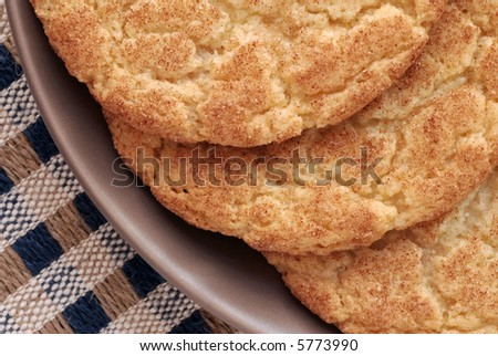 Close-up of freshly baked snickerdoodle cookies on a ceramic plate.