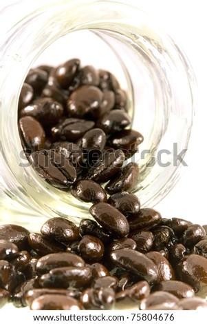 close up of freshly dark roasted coffee beans
