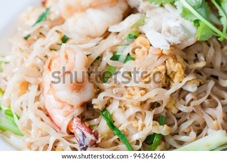 close up of fried noodles seafood