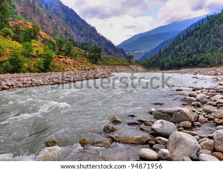 close up of front of Himalayan river