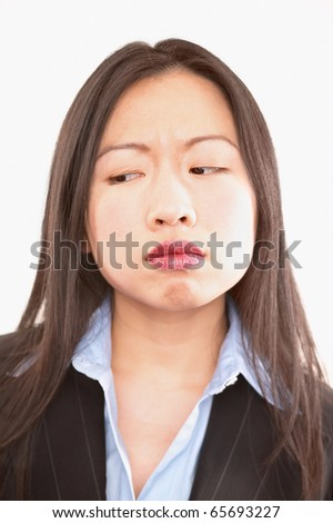 Close up of frustrated businesswoman