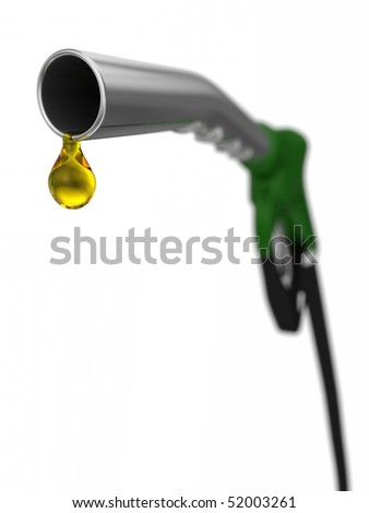 close up of fuel nozzle with droplet of fuel, shallow depth-of-field with focus in the front. Isolated on a white background.
