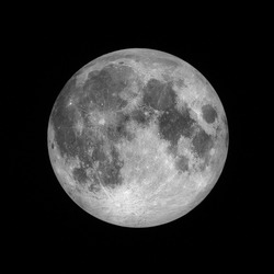 Close up of Full moon, lunar on dark night sky, black space, black background