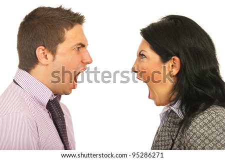 Close up of furious heads of business people having dispute and screaming each other over white background