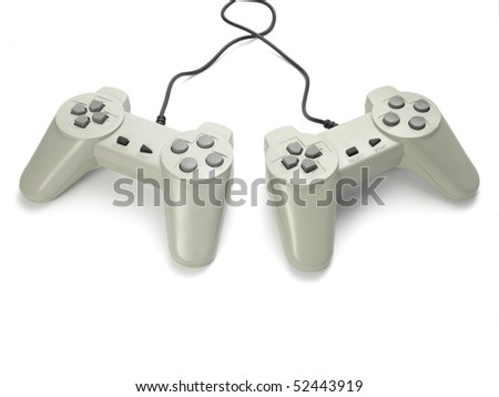 close up of gaming console on white background with clipping path