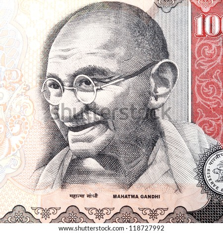 Close up of gandhi on Indian currency