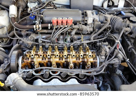Close up of gasoline car engine,  three valve per cylinder  system  LPG converted