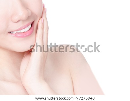Close up of girl mouth with sweet smile and hand finger touch face isolated on white background, model is a asian beauty - stock photo