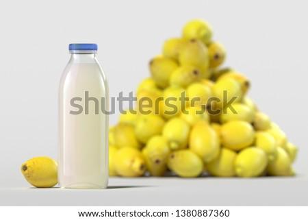 Close up of glass bottle of fresh lemon juice on light background. 3d rendering. Imagine de stoc ©