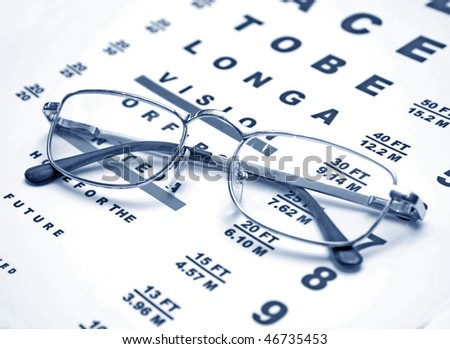 close up of glasses and chart