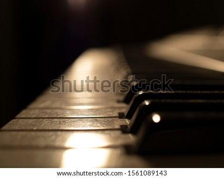Close-up of gloomy piano keys with dust and scratches