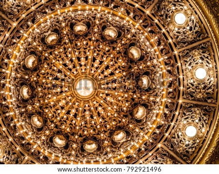 Close up of golden chandelier lamp at Colon Theatre (Teatro Colon) in Buenos Aires, Argentina, vintage luxury background. #792921496