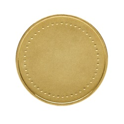 Close up of golden coin isolated on white background