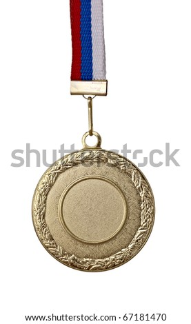 close up of golden medal on white background with clipping path