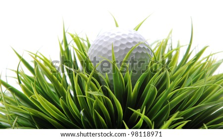 Close up of Golf ball in grass