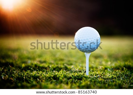 Close up of golf ball on tee